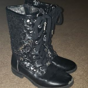 Michael Kors black high sequin boots sz 13